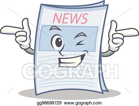 Vector art wink newspaper. News clipart cartoon