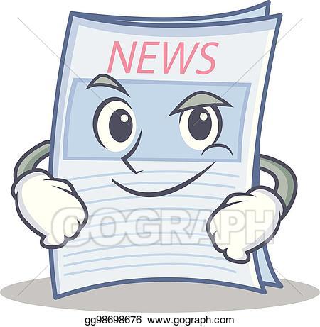 News clipart cartoon. Vector smirking newspaper character