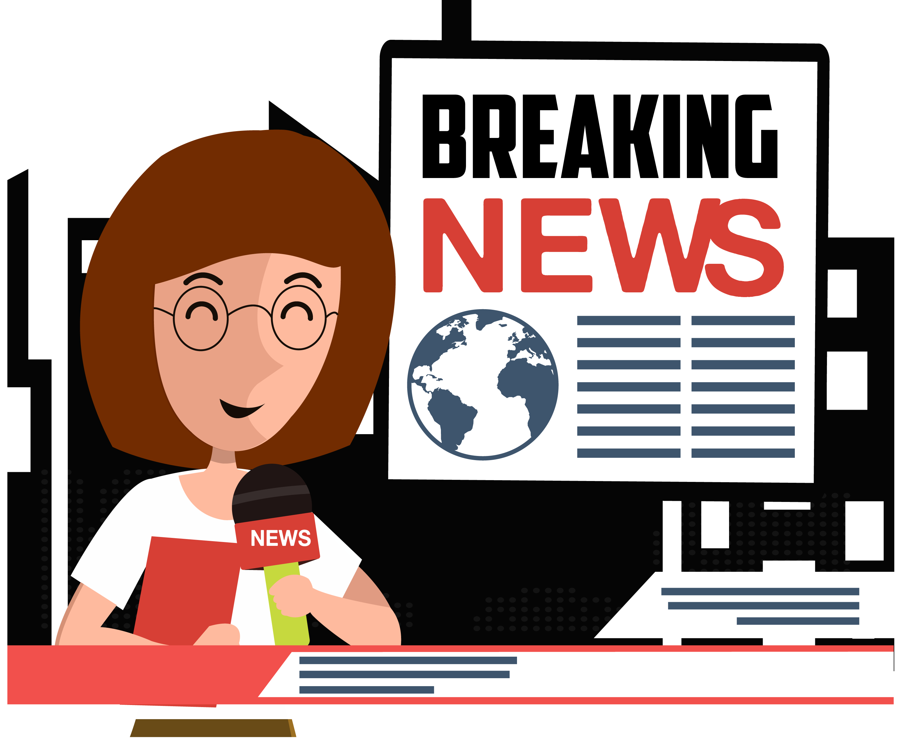 Newspaper clipart journalist. News cartoon illustration anchor