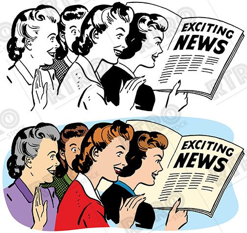 News clipart retro. Group of women reading