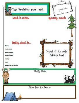 Newsletter clipart chronicle. Editable w a camping
