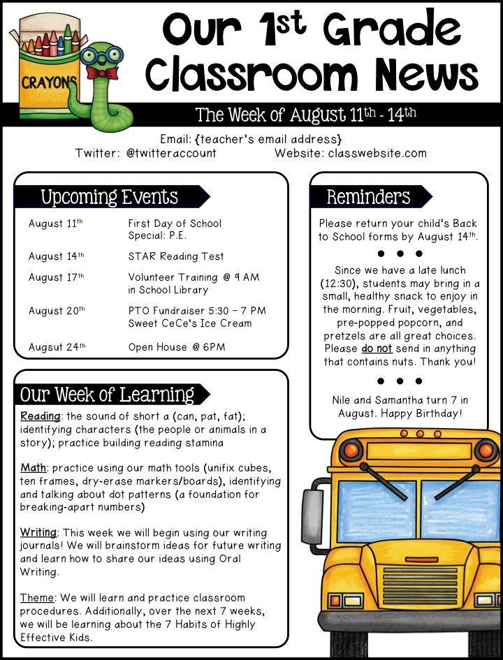Editable templates teacher stuff. Newsletter clipart grade school