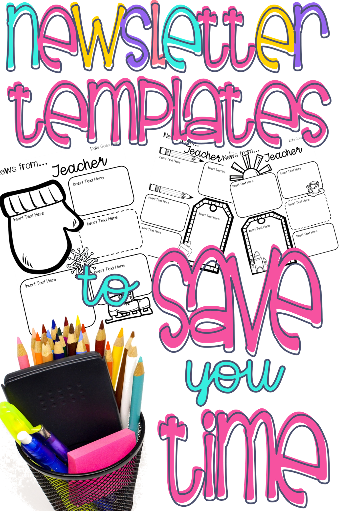Newsletter clipart monthly newsletter. Editable templates with holiday