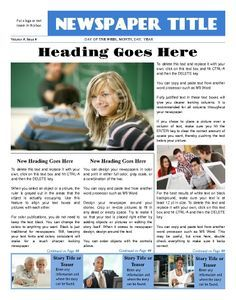 Newsletter clipart newspaper front page. School examples google search