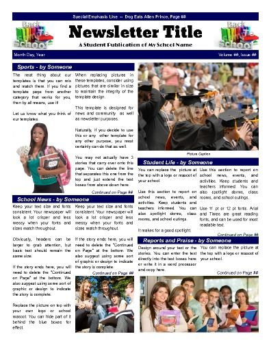 School template that emphasizes. Newsletter clipart newspaper front page