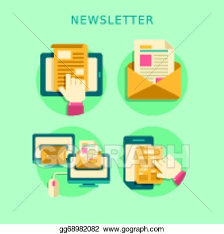 Newsletter clipart publication. Eps vector flat design