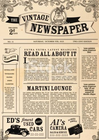 Newsletter clipart vintage newspaper. Vector illustration of a