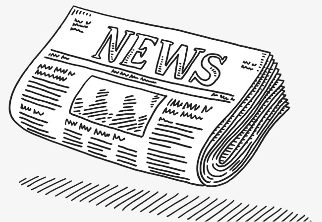 Newspaper clipart. A pencil illustration feature