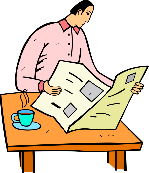Reading with cup of. Newspaper clipart current event