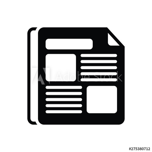 Black solid icon for. Newspaper clipart newspaper advertisement