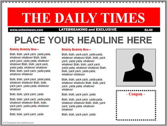Newspaper clipart newspaper front page. Free microsoft cliparts newspapers