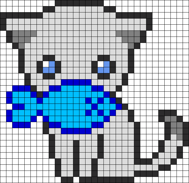 Cute fishy kitty perler. Newspaper clipart pixel art