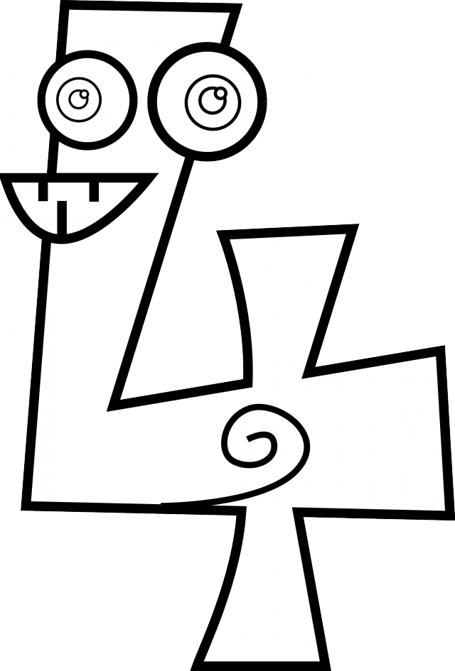 Black and white numbers. 3 clipart number 4