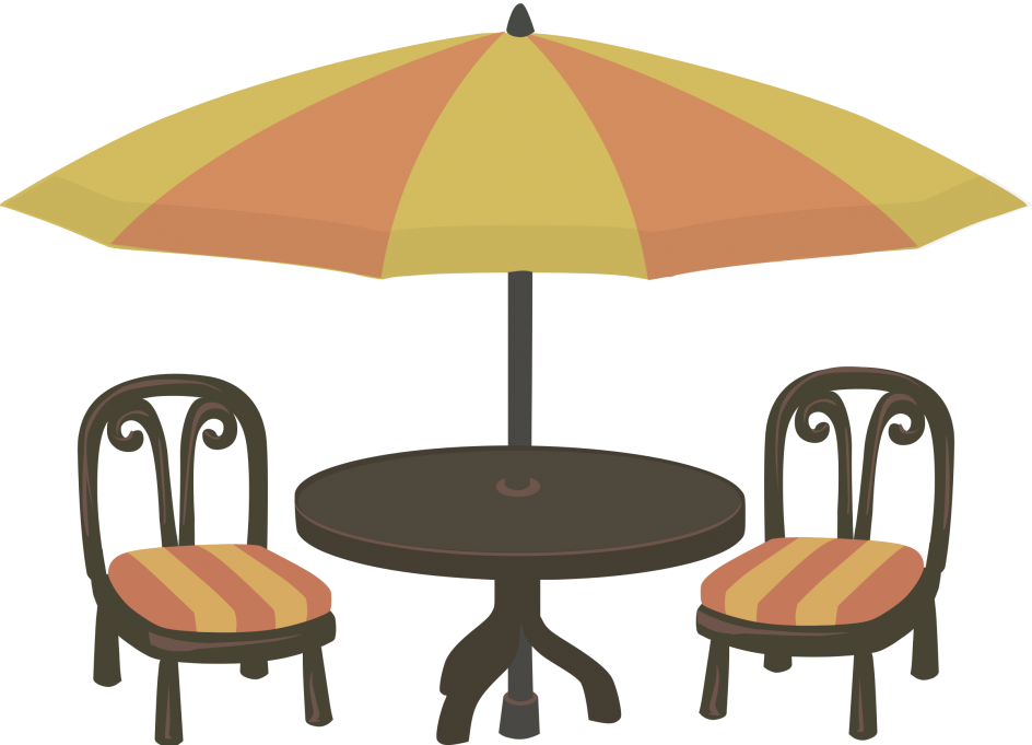 Writer clipart author's chair. Luxury cafe table and