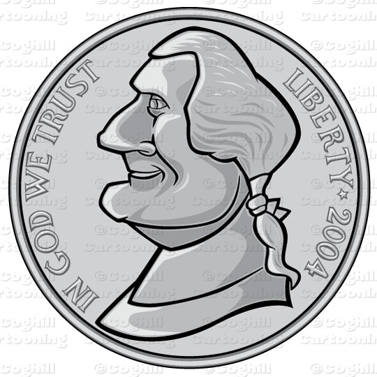 Nickel clipart. Us coin stock illustration