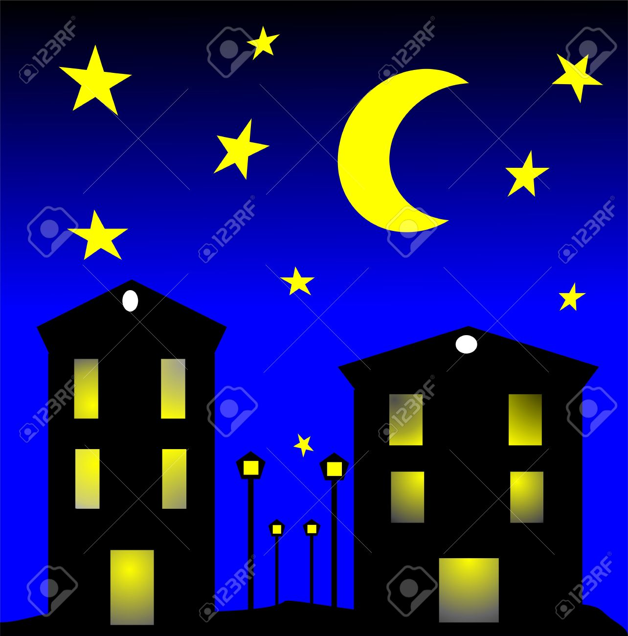 City by clip art. Night clipart