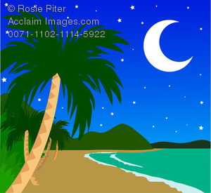Tropical island at image. Night clipart