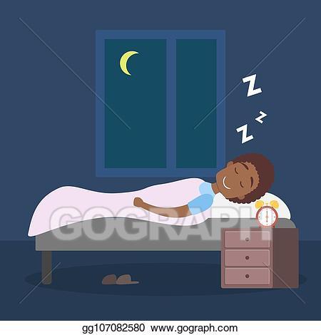 Vector man sleeping at. Night clipart asleep