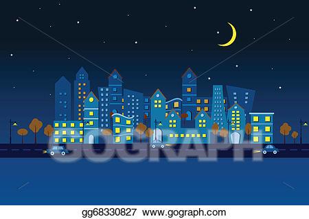 Vector art paper in. Night clipart city