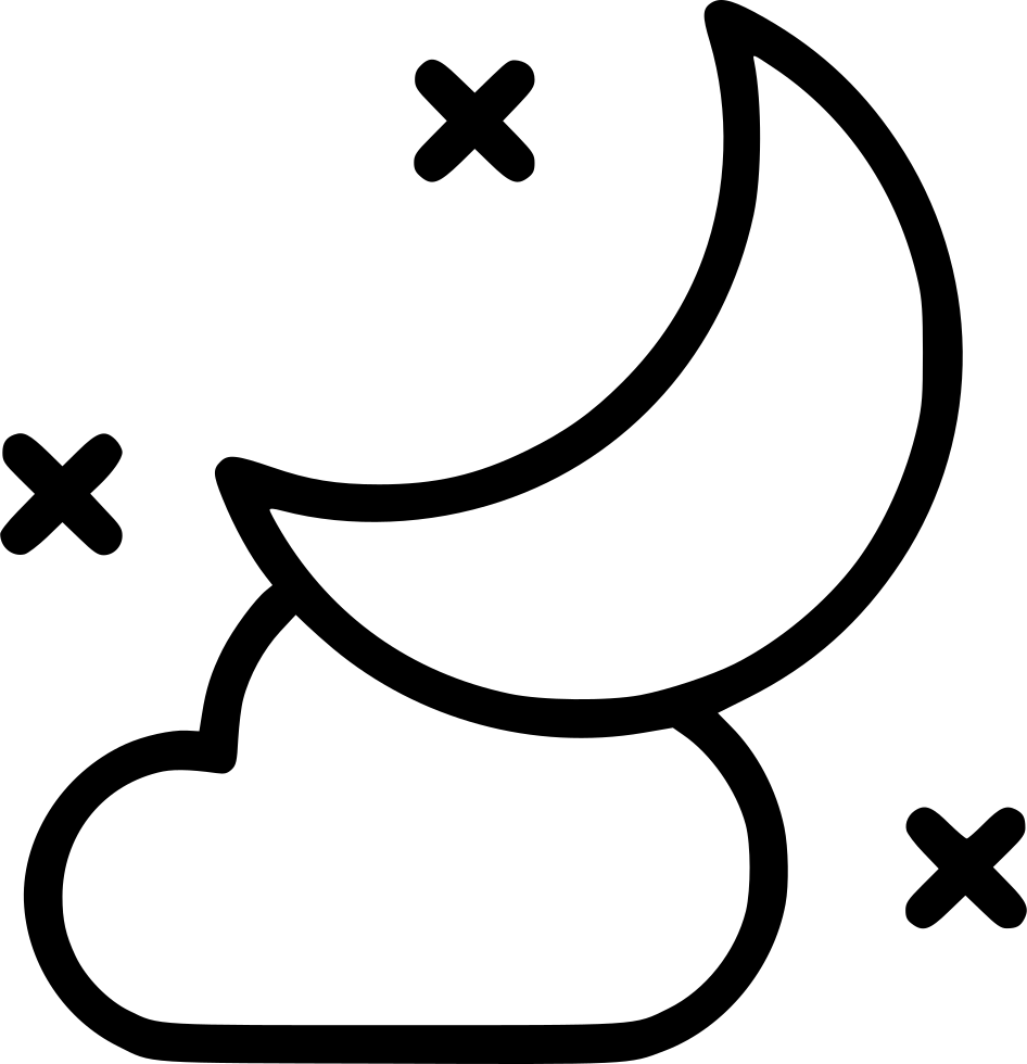 Moon svg png icon. Night clipart cold night