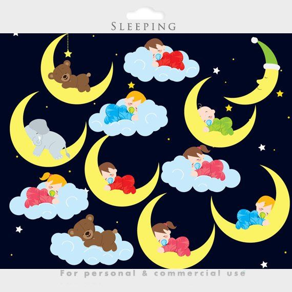 Baby sleeping babies clip. Night clipart cute