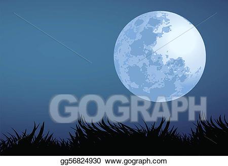 Vector art drawing gg. Night clipart full moon night
