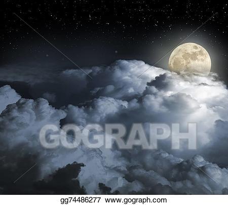 Stock illustration drawing . Night clipart full moon night