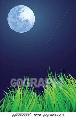 Night clipart full moon night. Vector art drawing gg