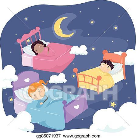 Vector stock stickman kids. Night clipart nap
