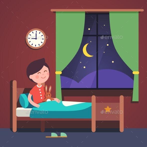 Boy kid preparing to. Night clipart night bed