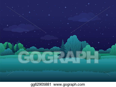 Eps vector seamless background. Night clipart night landscape