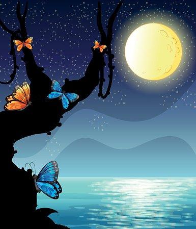 Silhouette scene fullmoon premium. Night clipart night nature