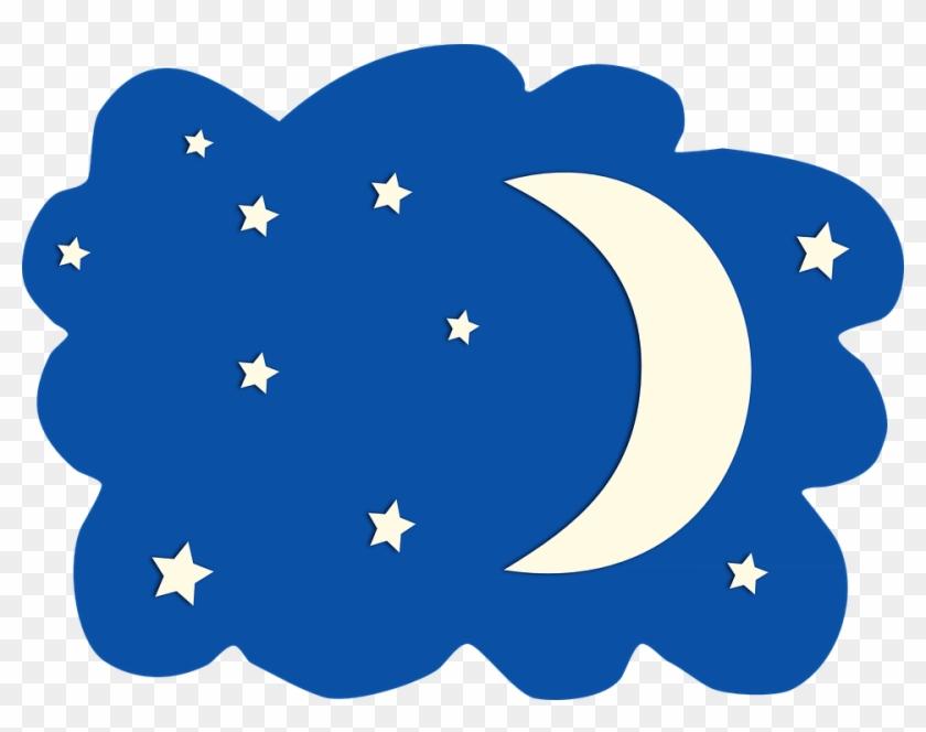 Night clipart night nature. Moon stars sky blue