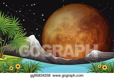 Vector art scene with. Night clipart night nature