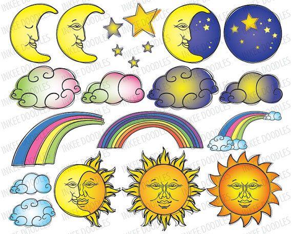 Stars rainbow doodles day. Night clipart sun moon star