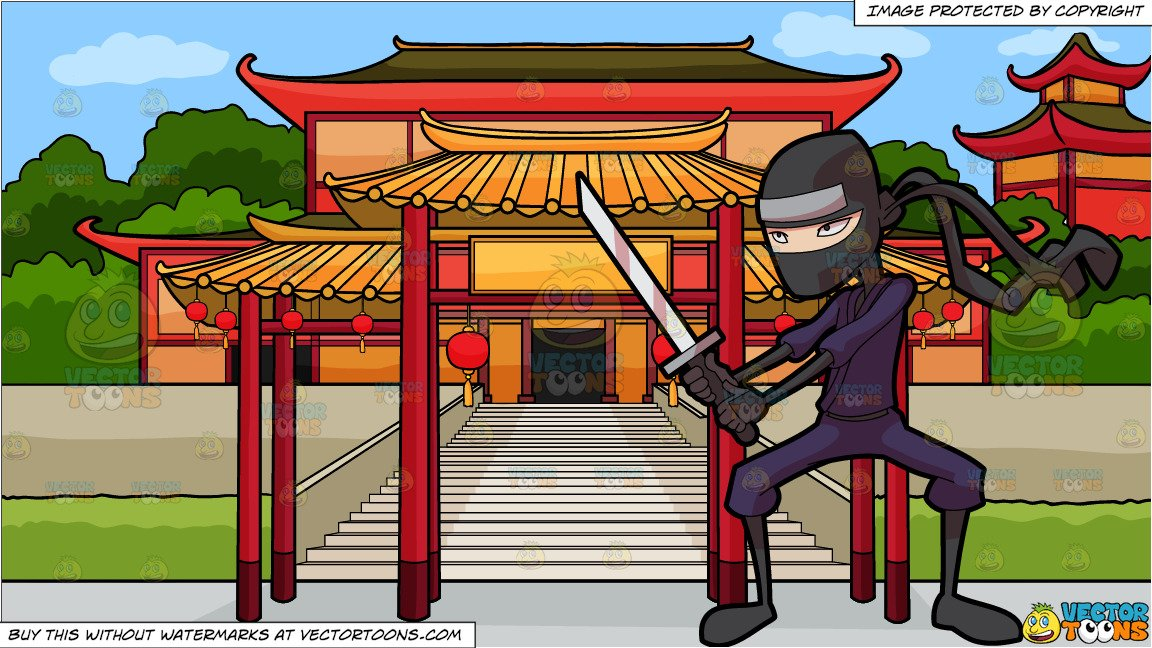 Ninja clipart cartoon chinese. A with sword and