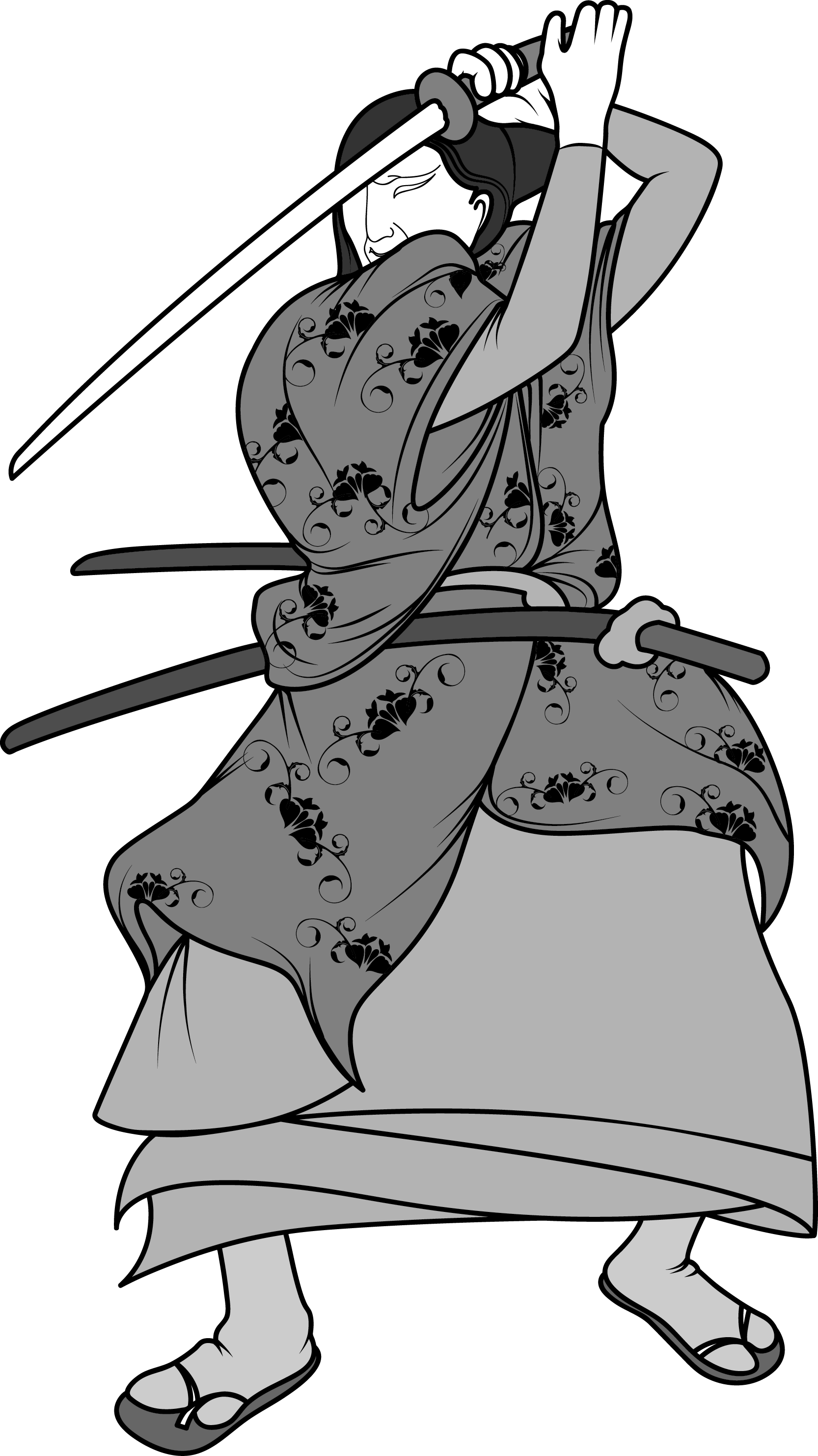 Warrior clipart warrior chinese. Black and white drawing