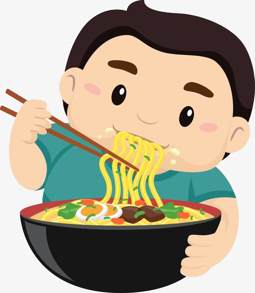 Kids with noodles pastries. Noodle clipart