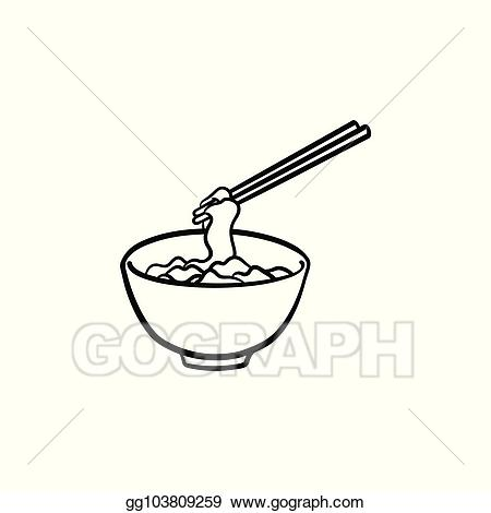 Noodle clipart bowl drawing. Vector stock of noodles