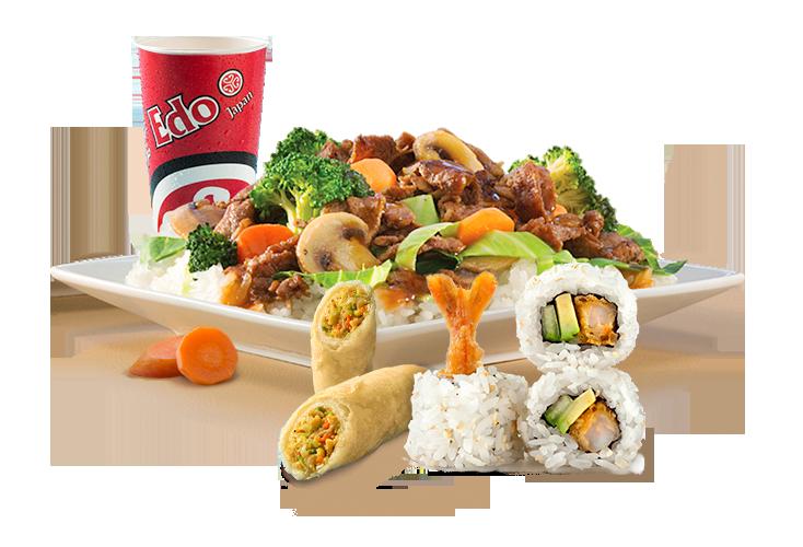 Noodles clipart food japan. Edo menu platter