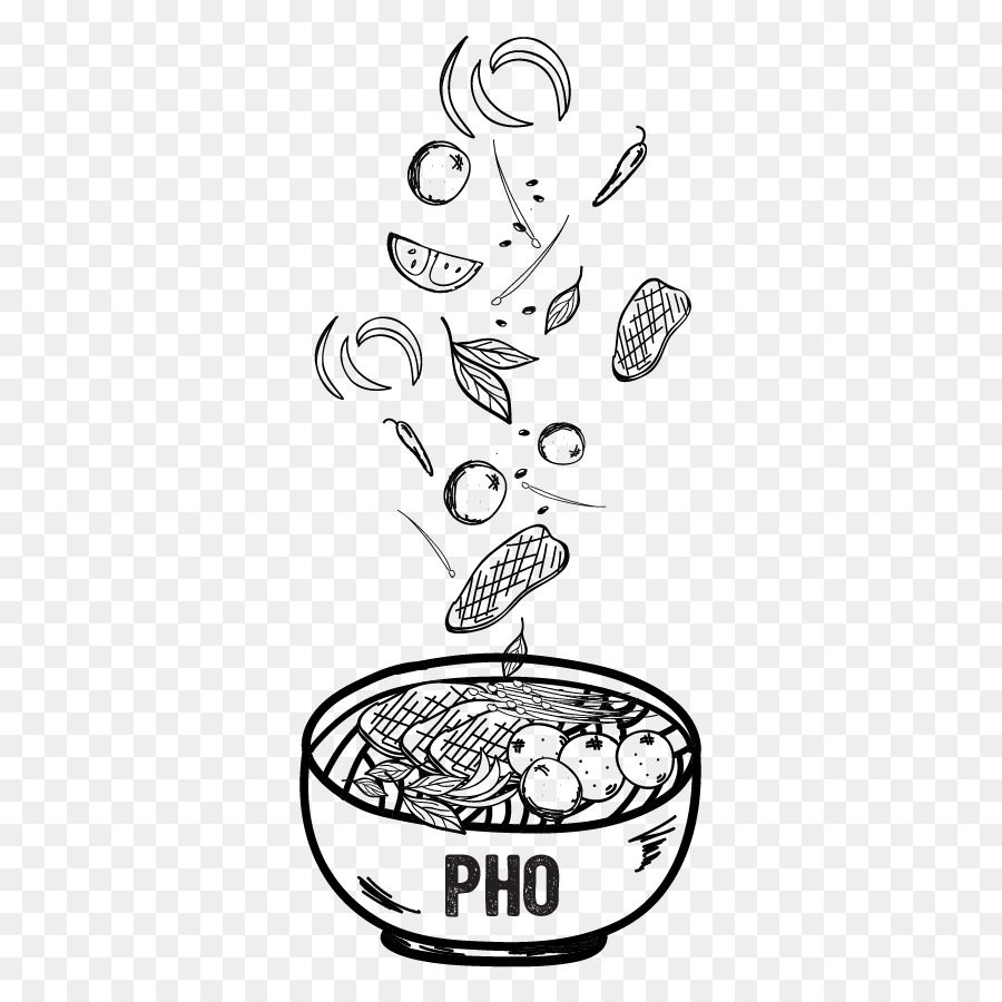 Noodles clipart pho vietnamese. Book black and white