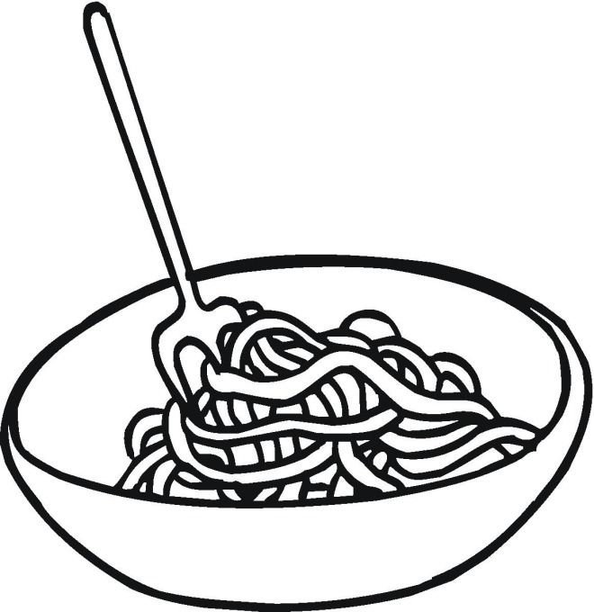 Spaghetti pages only . Pasta clipart coloring page