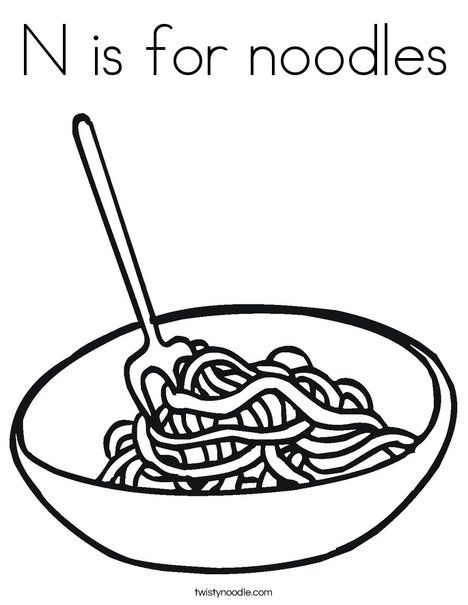 N is for coloring. Noodles clipart colouring
