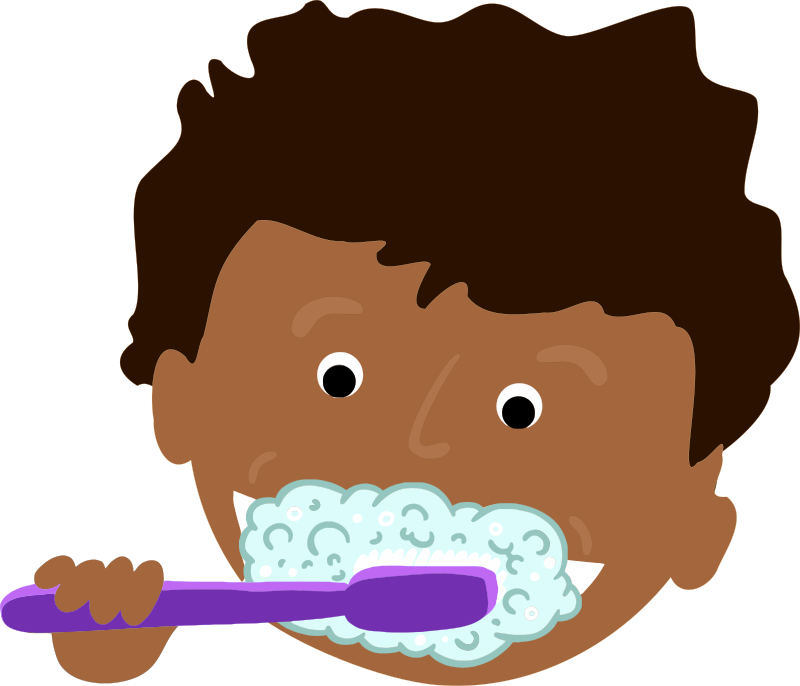 African kid brushing teeth. Tooth clipart boy