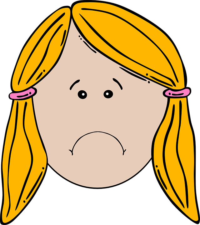 Happy face and sad. Student clipart angry