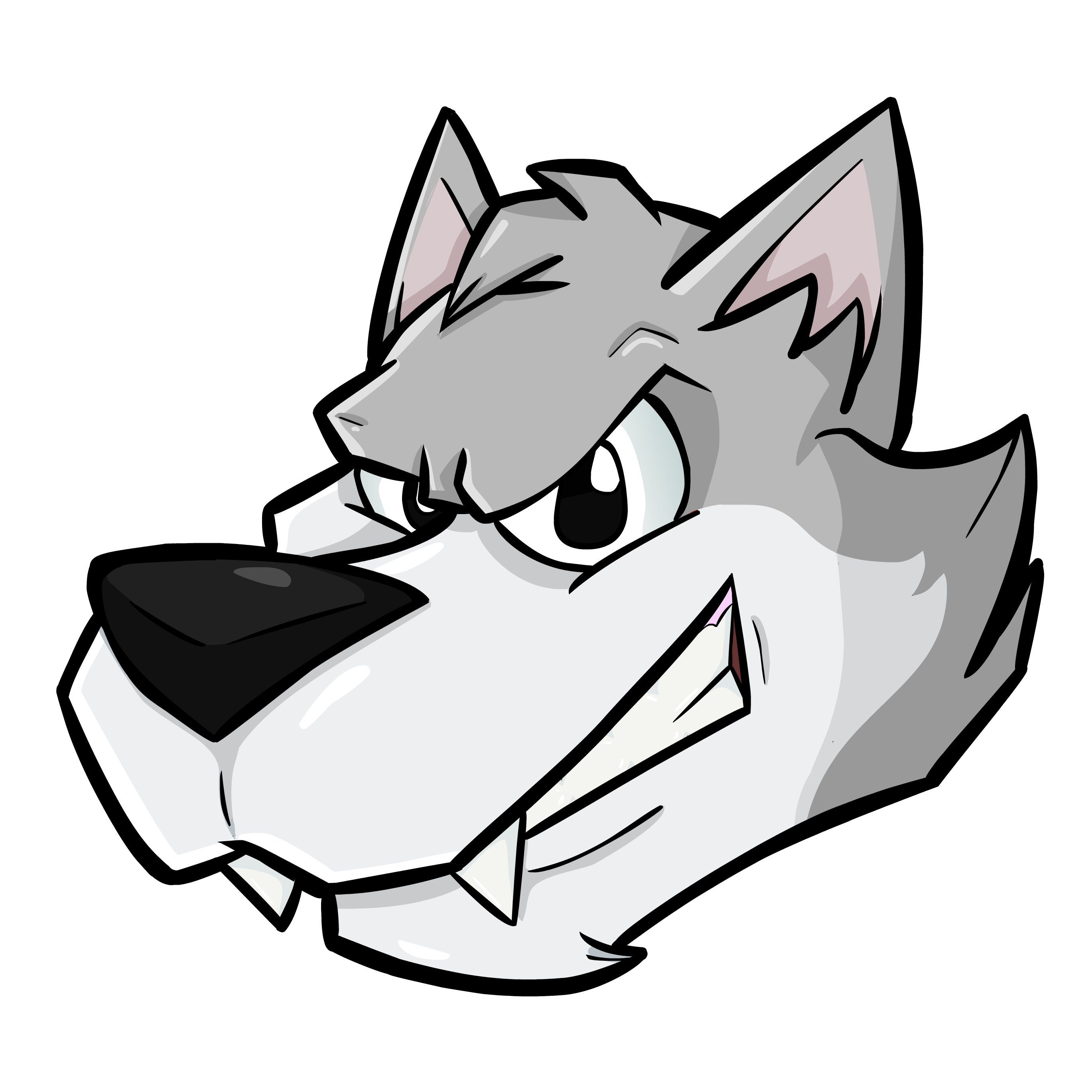 Cartoon head by theiyoume. Wolf clipart nose