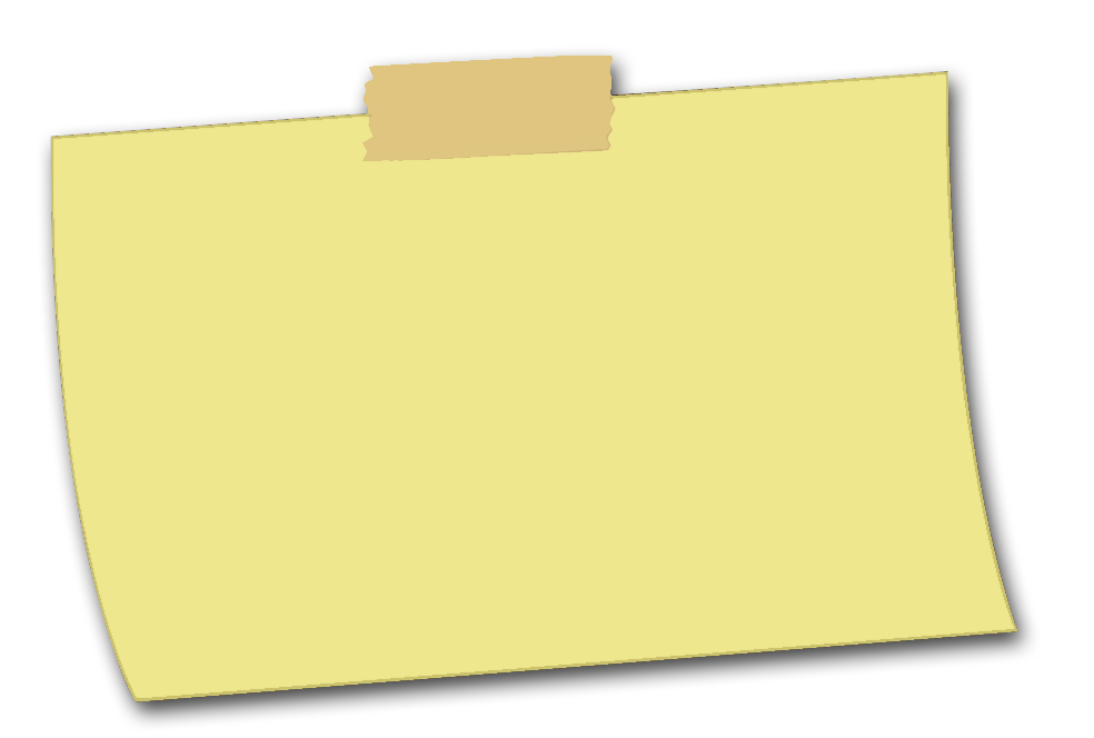 Note clipart pinned note. Yellow sticky ntes png
