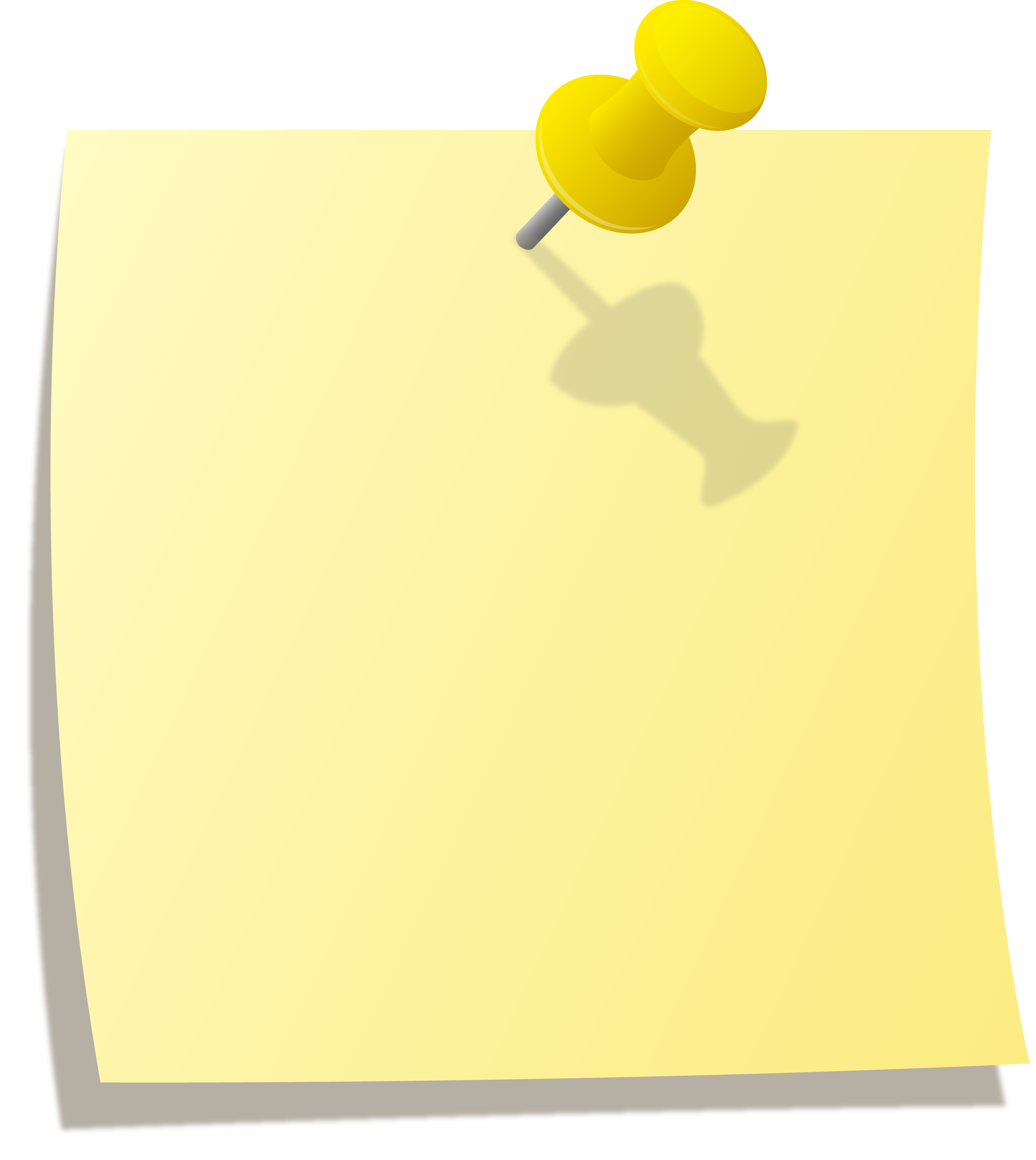 Yellow with thumbtack free. Note clipart pinned note