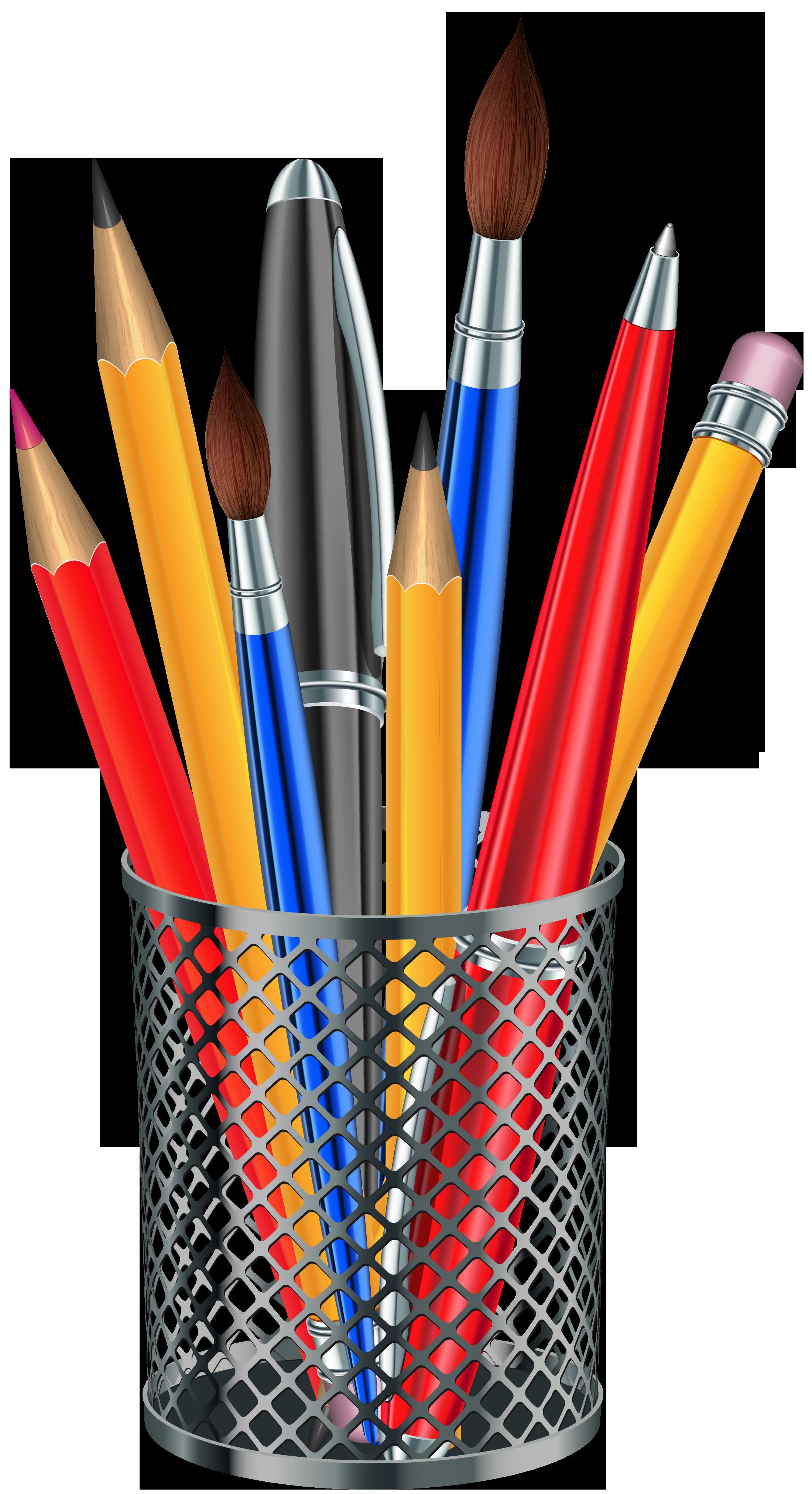 Notebook clipart ballpen. Pencil brush clip art