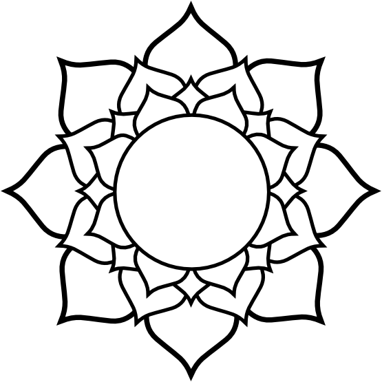 Lotus black white line. Notebook clipart coloring page